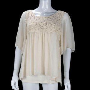 Dressbarn Cream 2Pc Crochet Sheer Crinkle Shirt